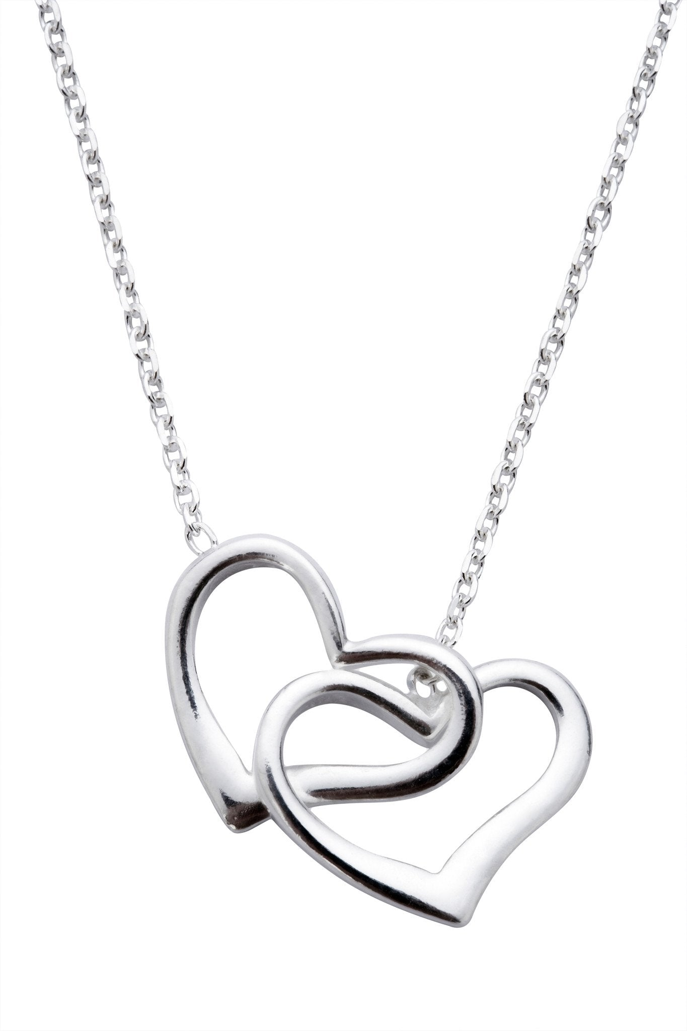 CW Sellors Necklace Double Open Heart Silver