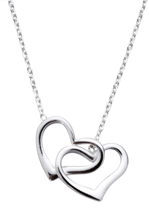 Sterling Silver Double Open Heart Necklace, N909.