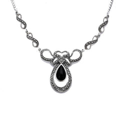 Sterling Silver Whitby Jet Marcasite Drop Bow Twist Necklace