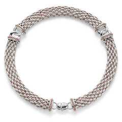 Fope Silverfope Naos Sterling Silver Rose Gold Vermeil Rope Necklace