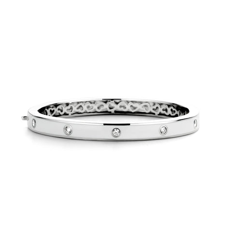 Ti Sento Bangle Silver And White Cubic Zirconia Thin