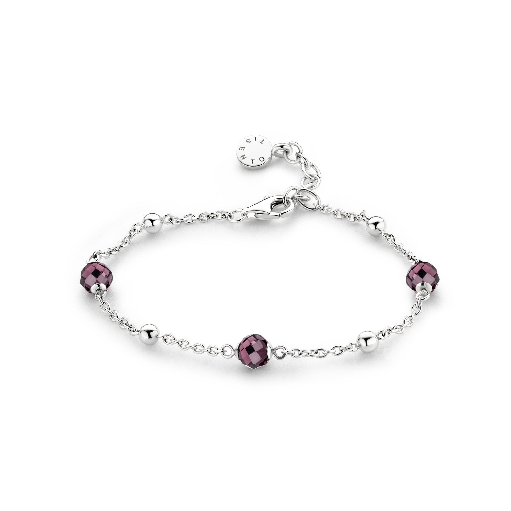 Ti Sento Bracelet Silver And Burgundy Cubic Zirconia