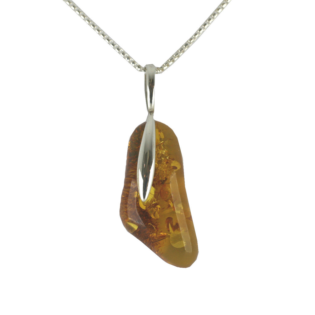 Amber Necklace Organic Pebble Silver
