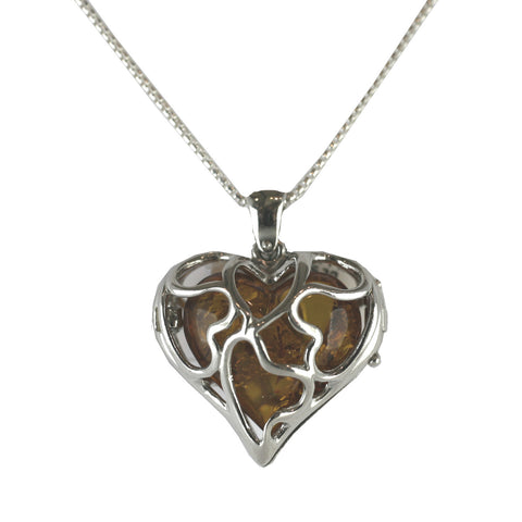 Amber Necklace Encased Heart Silver