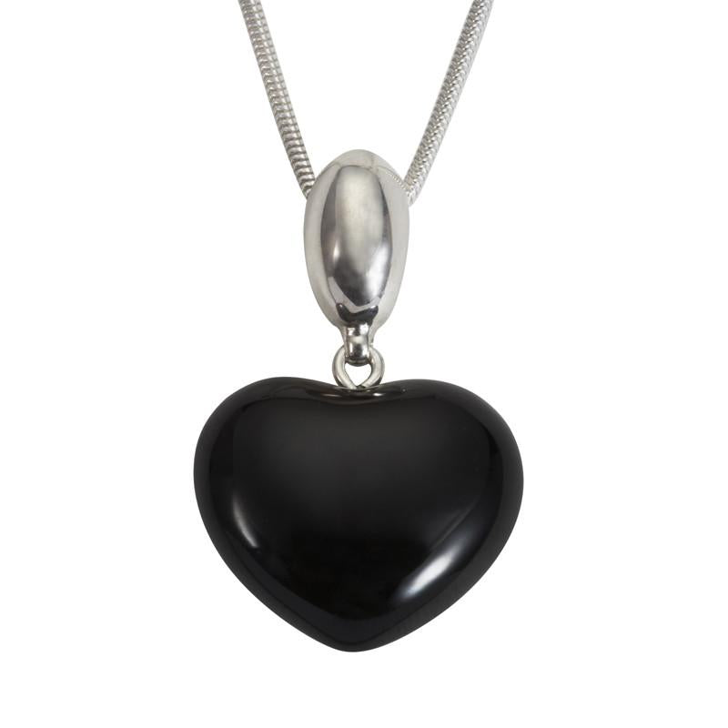 Whitby Jet Necklace Heart Shaped Silver