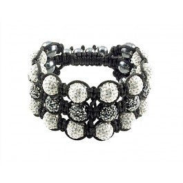 Tresor Paris Bracelet White And Grey Crystal Beads Triple