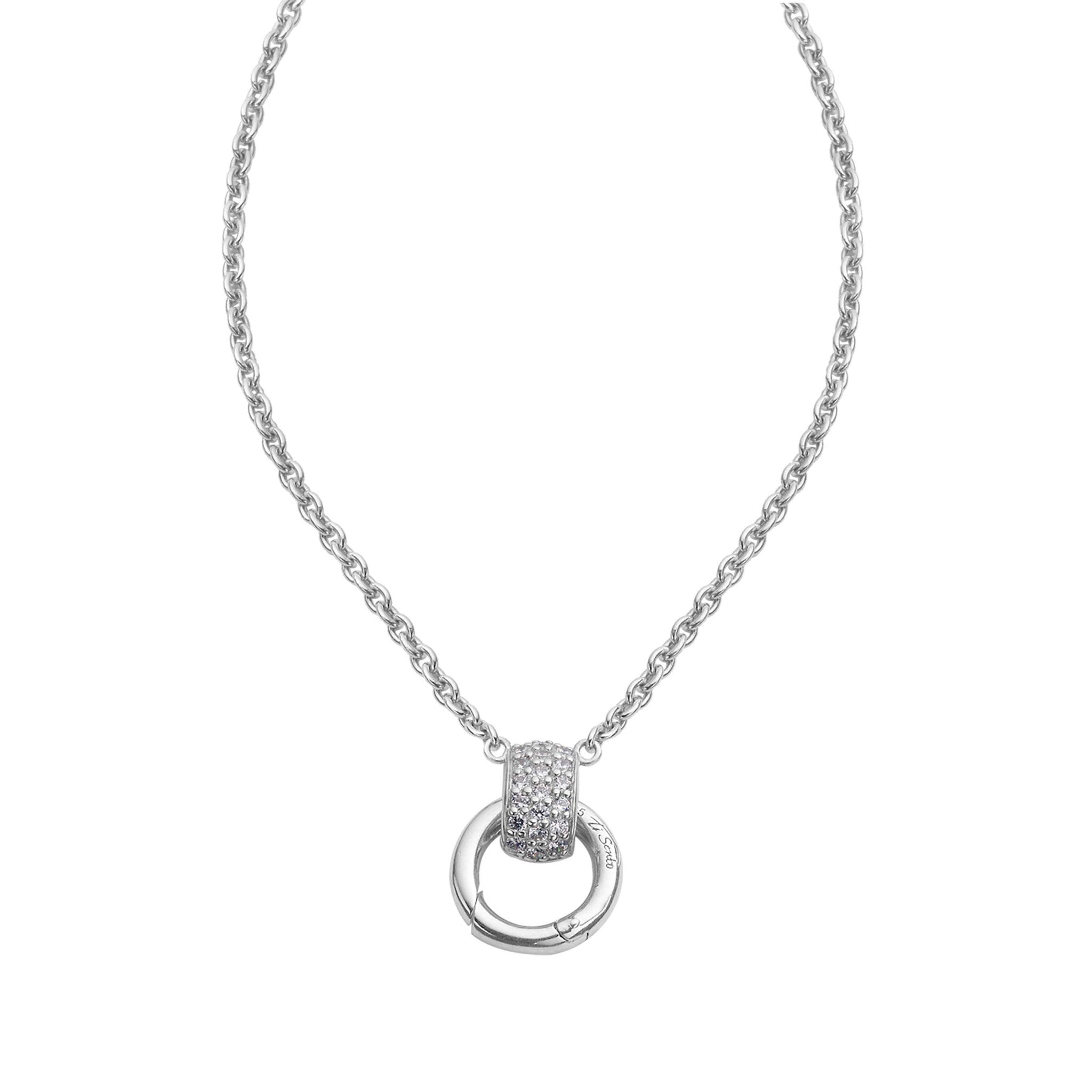Ti Sento Necklace Silver And white Cubic Zirconia