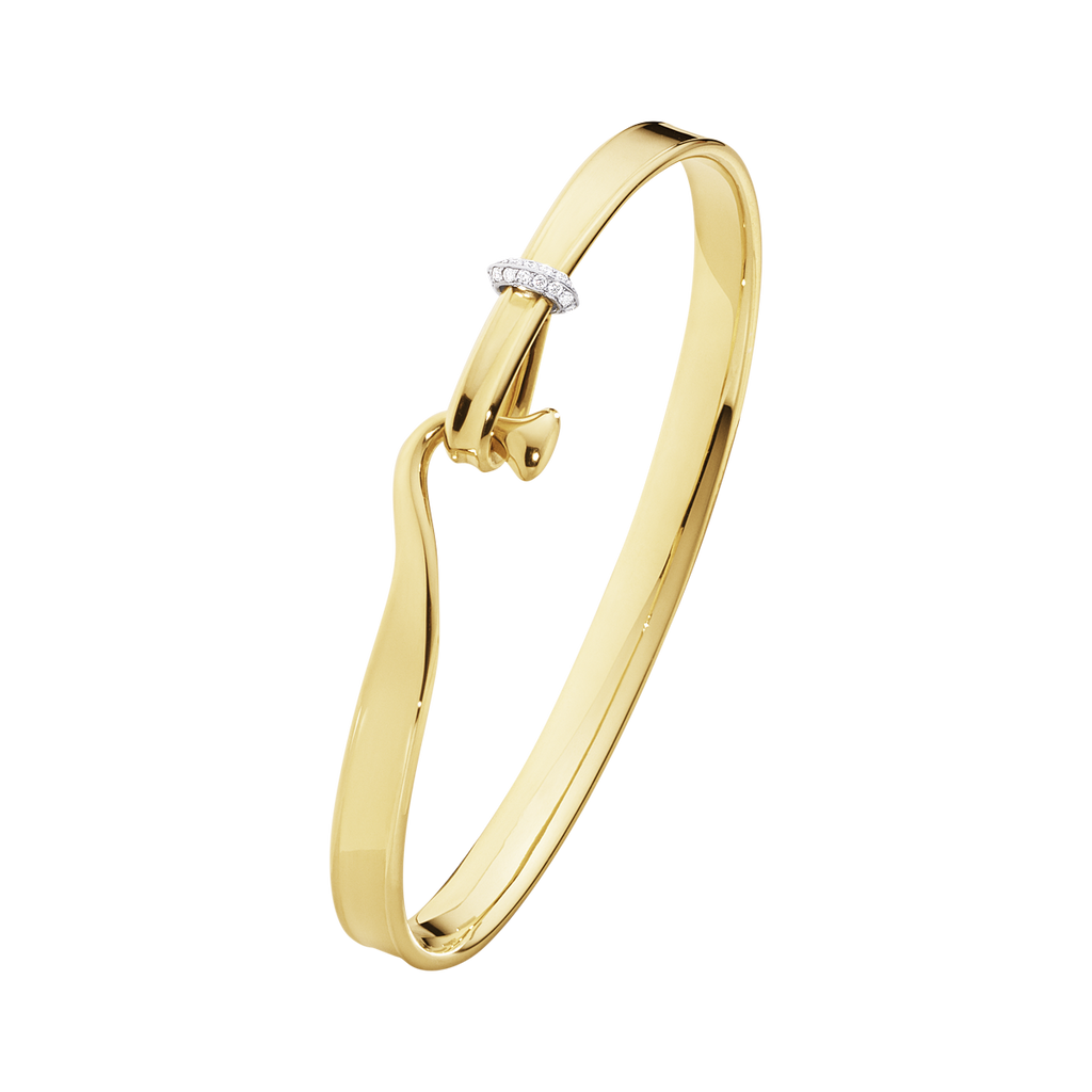 Georg Jensen Bangle Torun 18ct yellow Gold And Diamonds