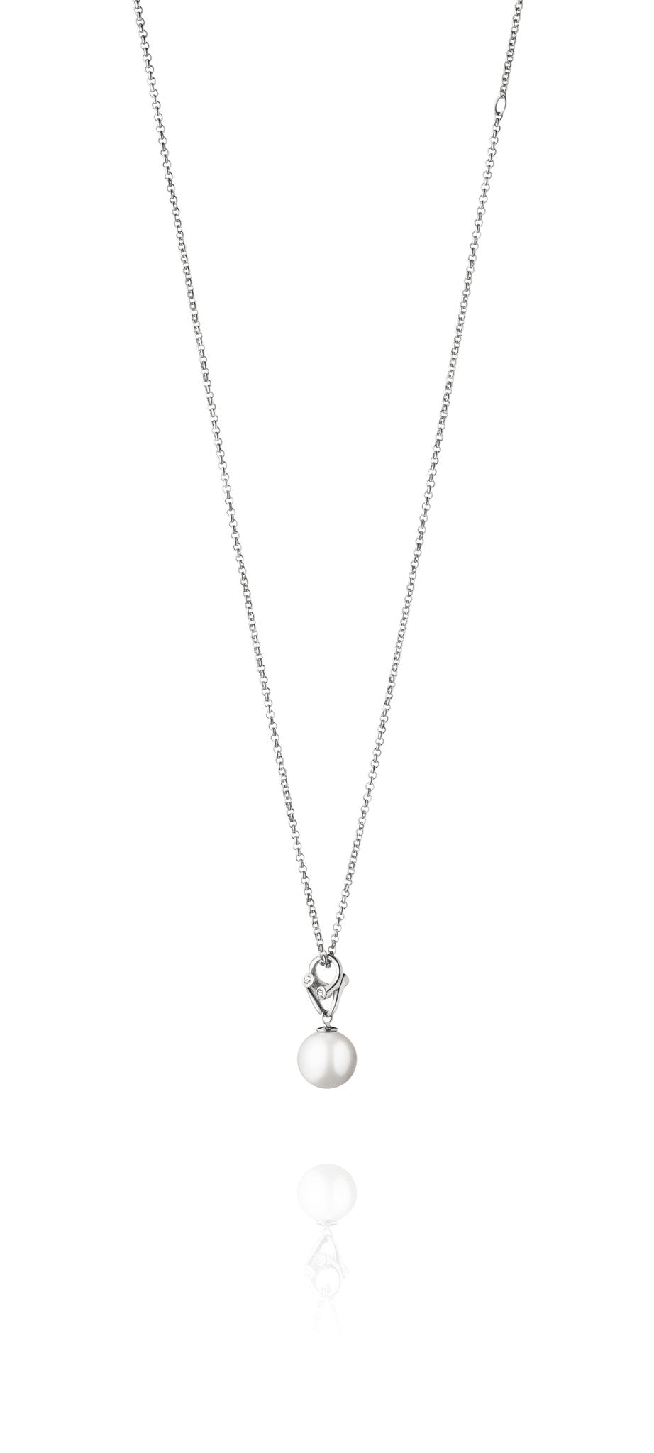 Georg Jensen White Gold Freshwater Pearl Brilliant Cut Diamond Necklace D