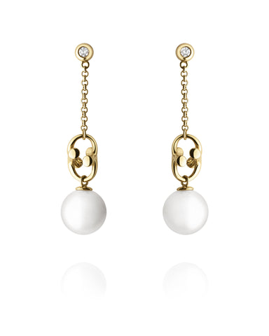 Georg Jensen 18ct Gold White Freshwater Pearl Magic Earrings