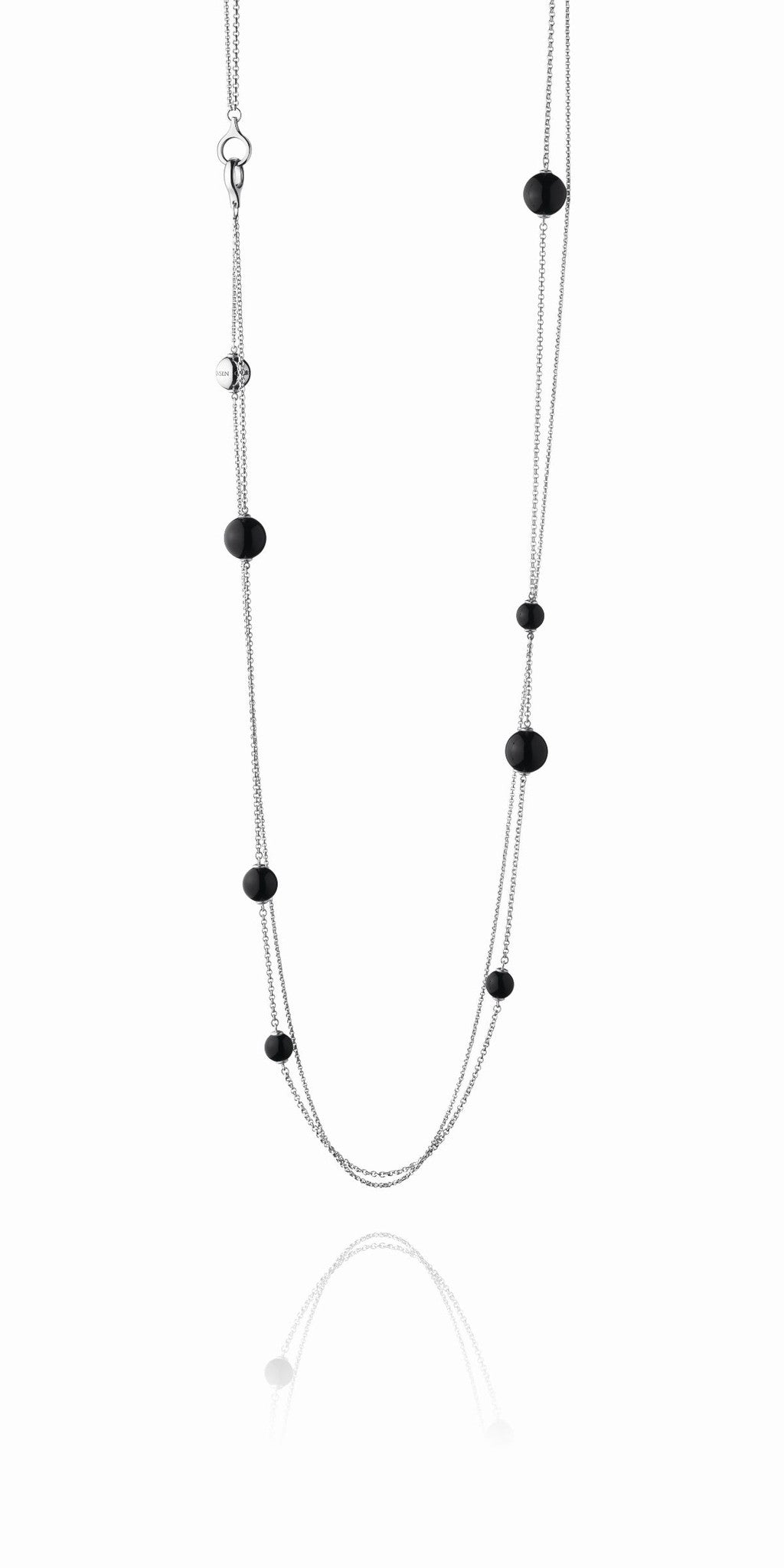 Georg Jensen Necklace Sphere Black Agate Sautoir