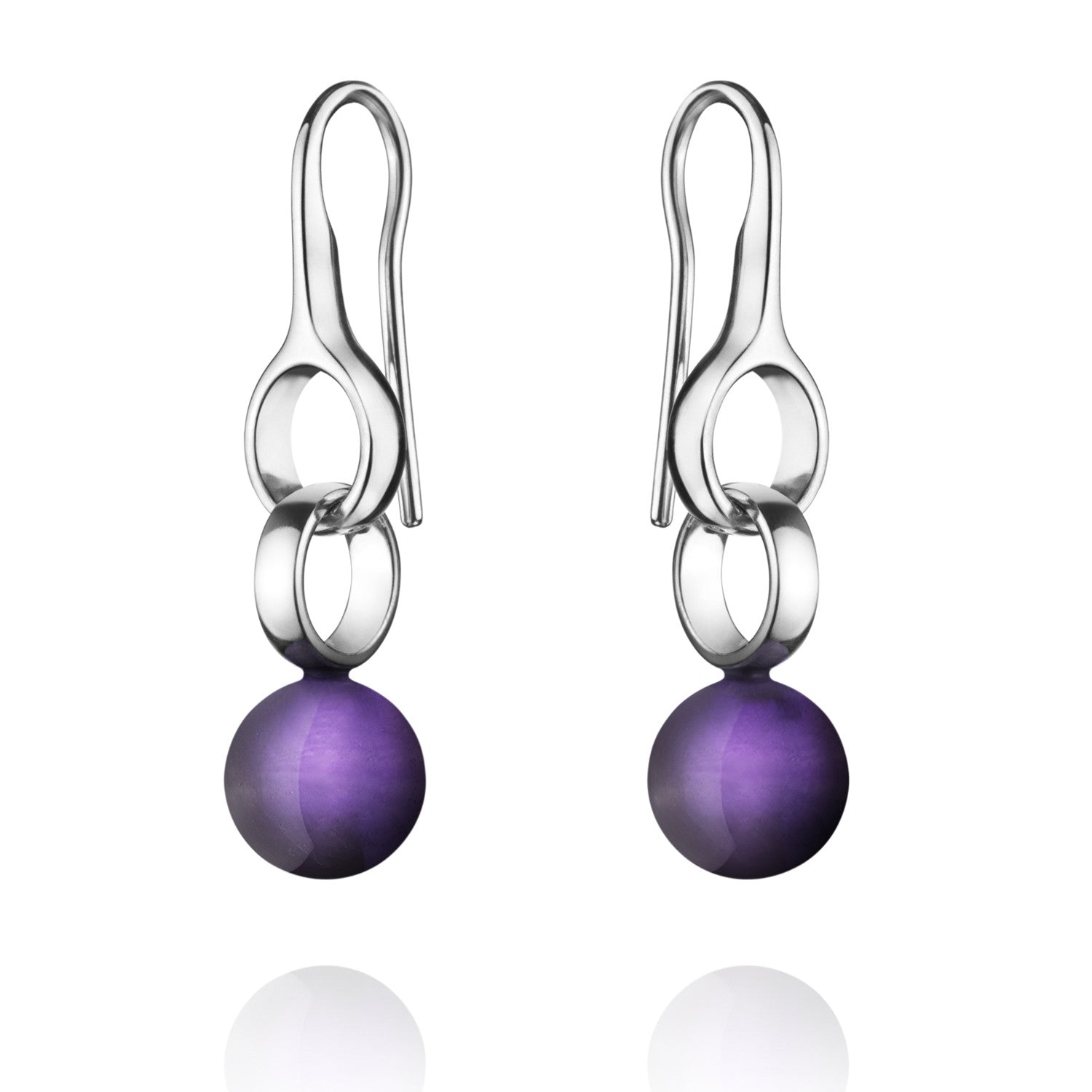 Georg Jensen Earrings Sphere Amethyst