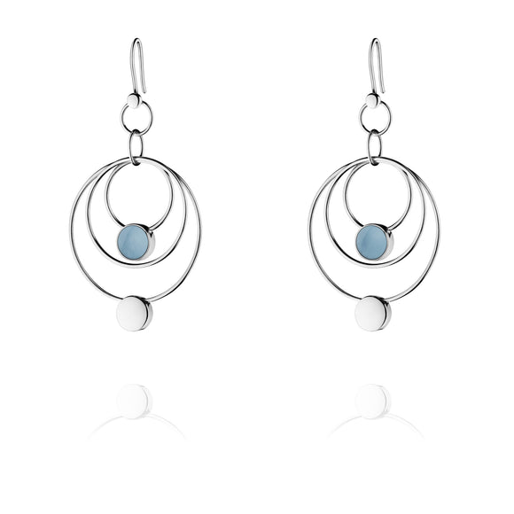 Georg Jensen Regitze Silver Blue Jade Earrings 3539297