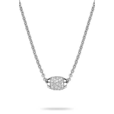 Ti Sento Necklace Silver And White Cubic Zirconia Barrel