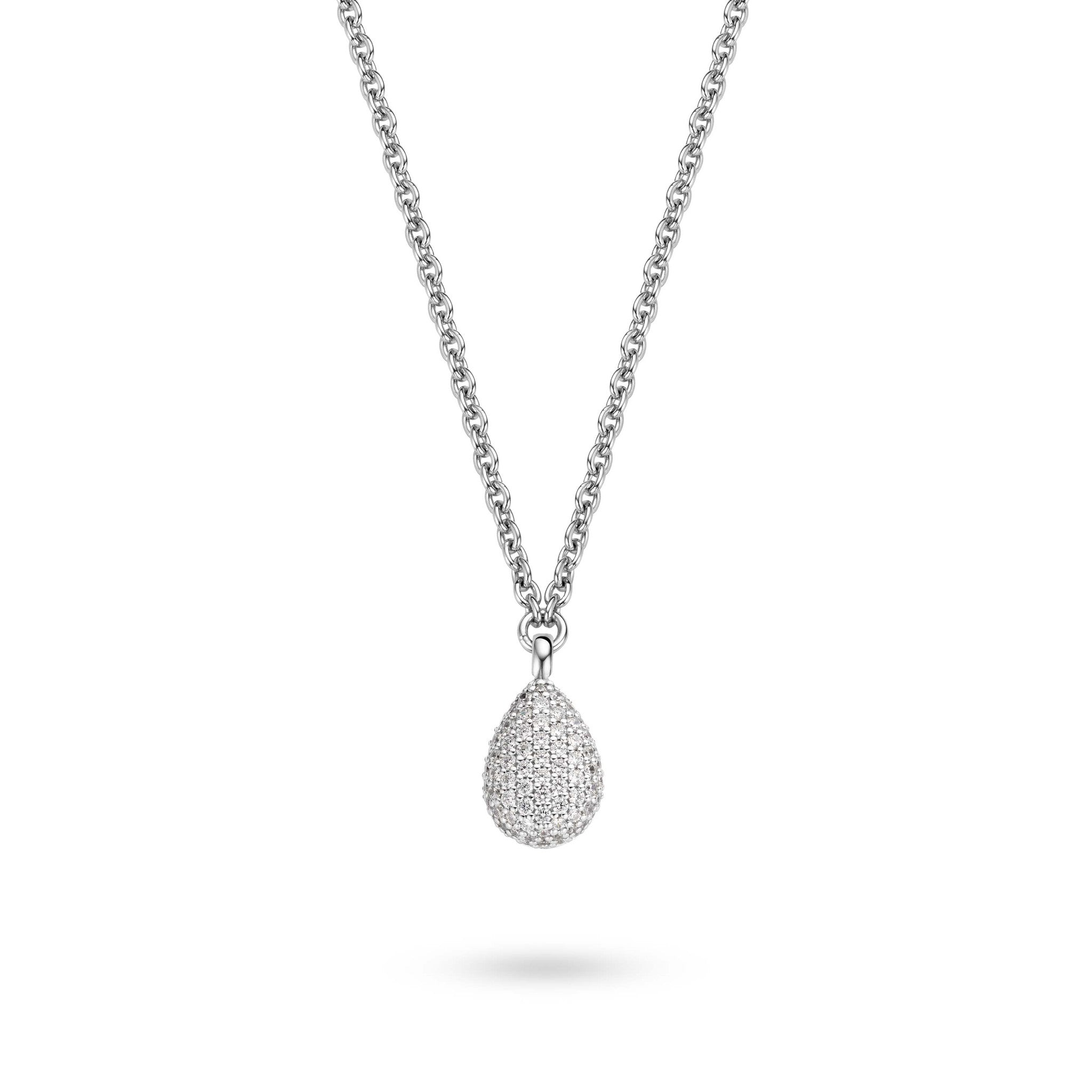 Ti Sento Necklace Silver And White Cubic Zirconia Pear Drop
