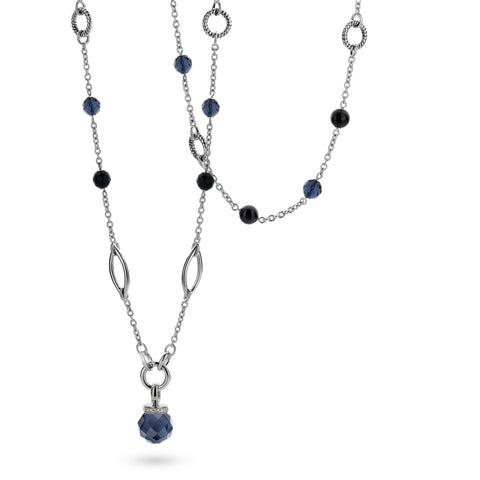 Ti Sento Necklace Silver And Blue And Black Cubic Zirconia Bead