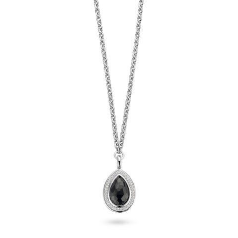 Ti Sento Necklace Silver And Black Cubic Zirconia Pear