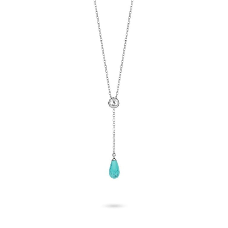 Ti Sento Necklace Silver And Turquoise Pear Drop