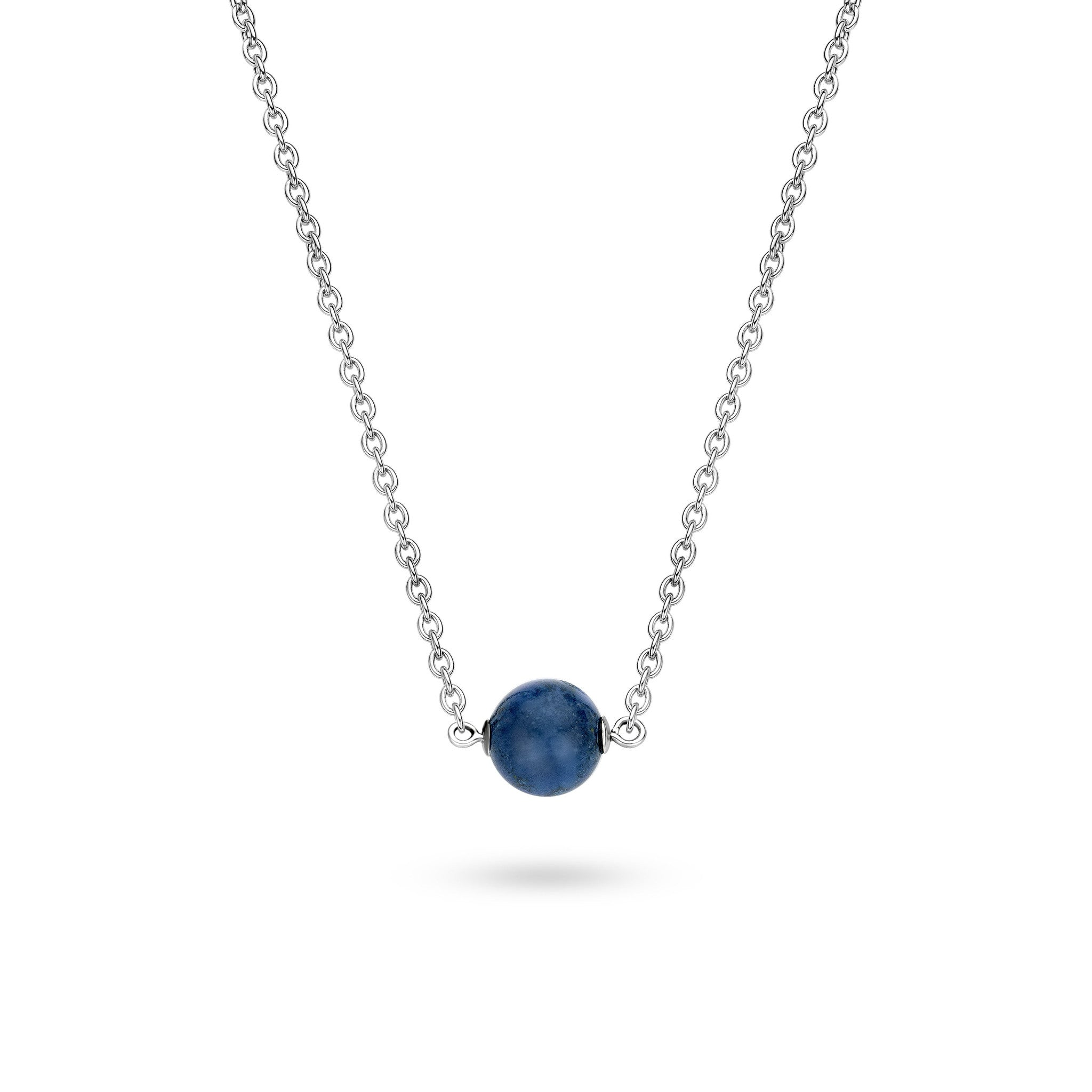 Ti Sento Necklace Silver And Blue Catseye