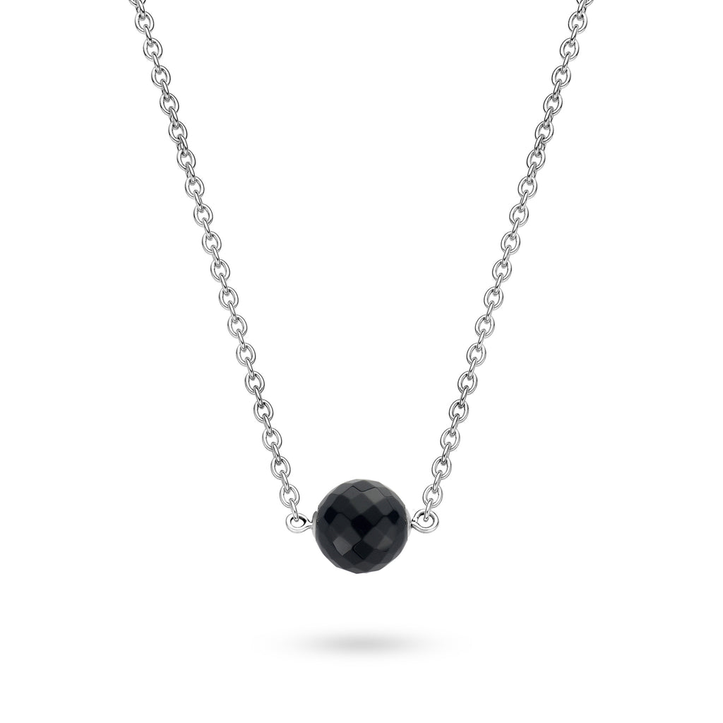 Ti Sento Necklace Silver And Faceted Black Cubic Zirconia