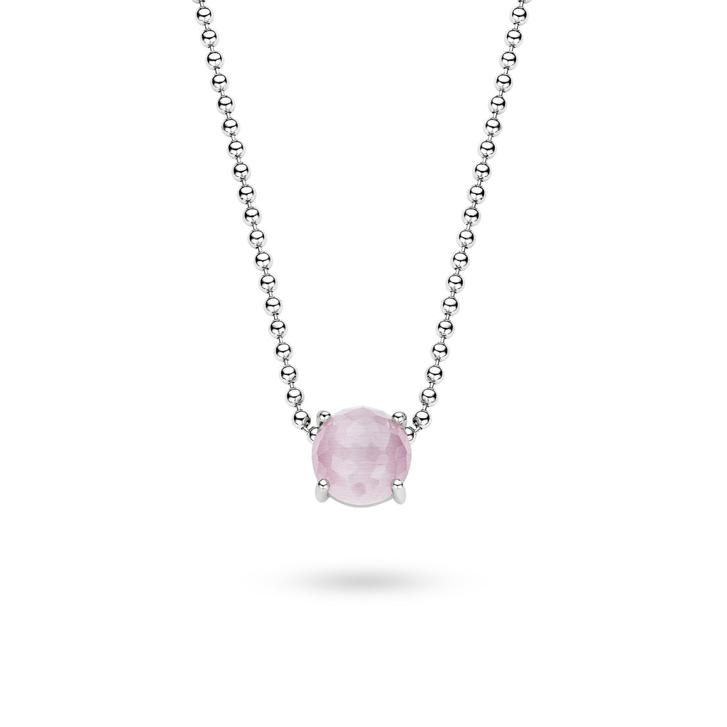 Ti Sento Pendant Silver And Pink Cubic Zirconia Round