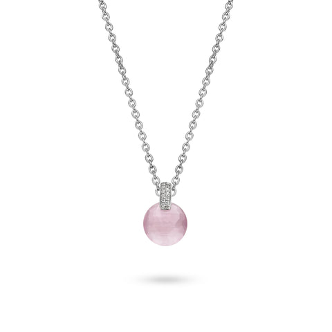 Ti Sento Pendant Silver With White And Pink Cubic Zirconia Round