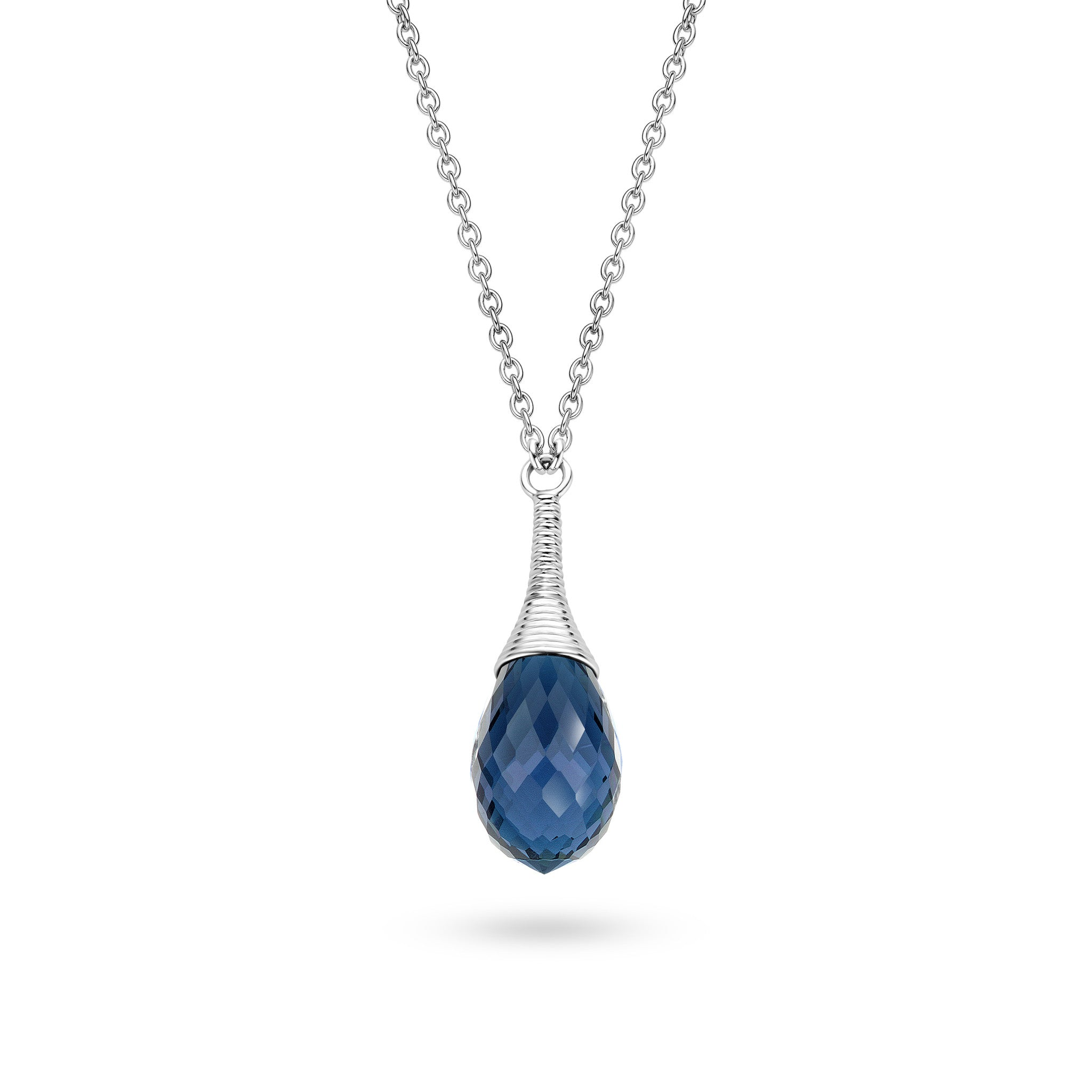 Ti Sento Necklace Silver And Faceted Blue Teardrop