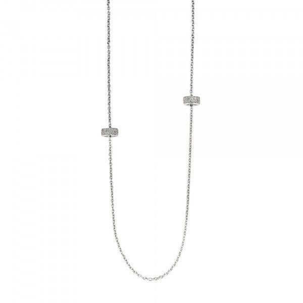 Ti Sento Necklace Silver And White Cubic Zirconia Spacer