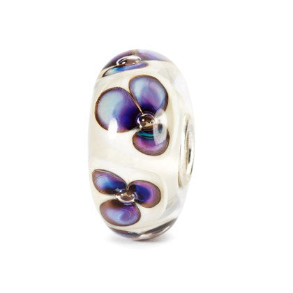 Trollbeads Bead Ivory Violets Glass