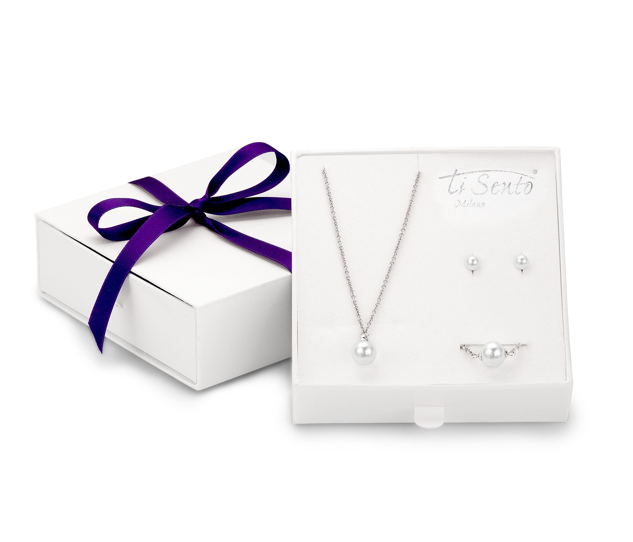 Ti Sento Gift Set Silver With White Cubic Zirconia And Pearl