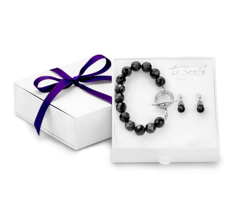 Ti Sento Gift Set Silver With White And Black Cubic Zirconia
