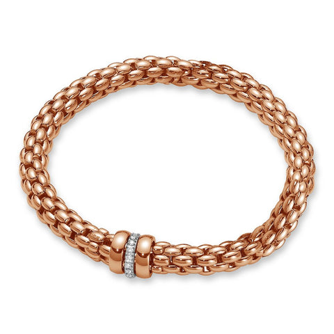 Fope Bracelet Flex'It Nuie 18ct Rose Gold And Diamond