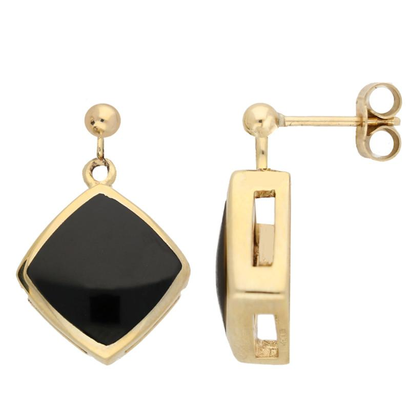 9ct Yellow Gold Whitby Jet Cushion Drop Earrings