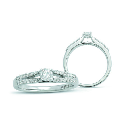 Kissing Diamonds Ring Valentina 18ct White Gold