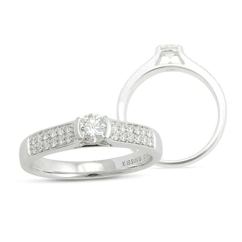 Kissing Diamonds Ring Holly Blossom 18ct White Gold