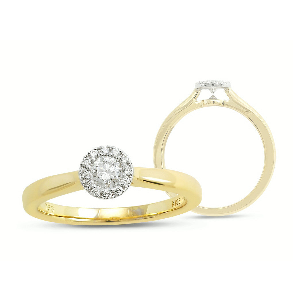 Kissing Diamonds Ring Halo 18ct Yellow Gold