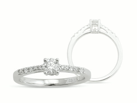 Kissing Diamonds Ring Pave Set Diamond