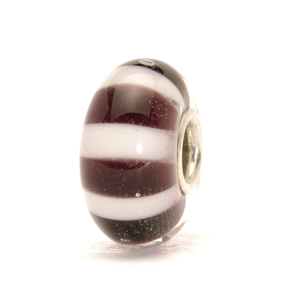 Trollbeads Bead Glass Black & White Stripes D