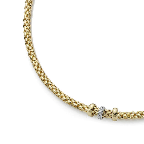 Fope Necklace Solo Diamond 18ct Yellow And White Gold
