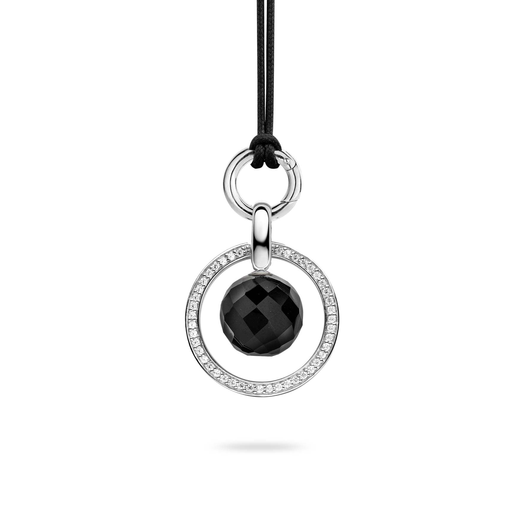 Ti Sento Pendant Silver With White Cubic Zirconia And Onyx Circle