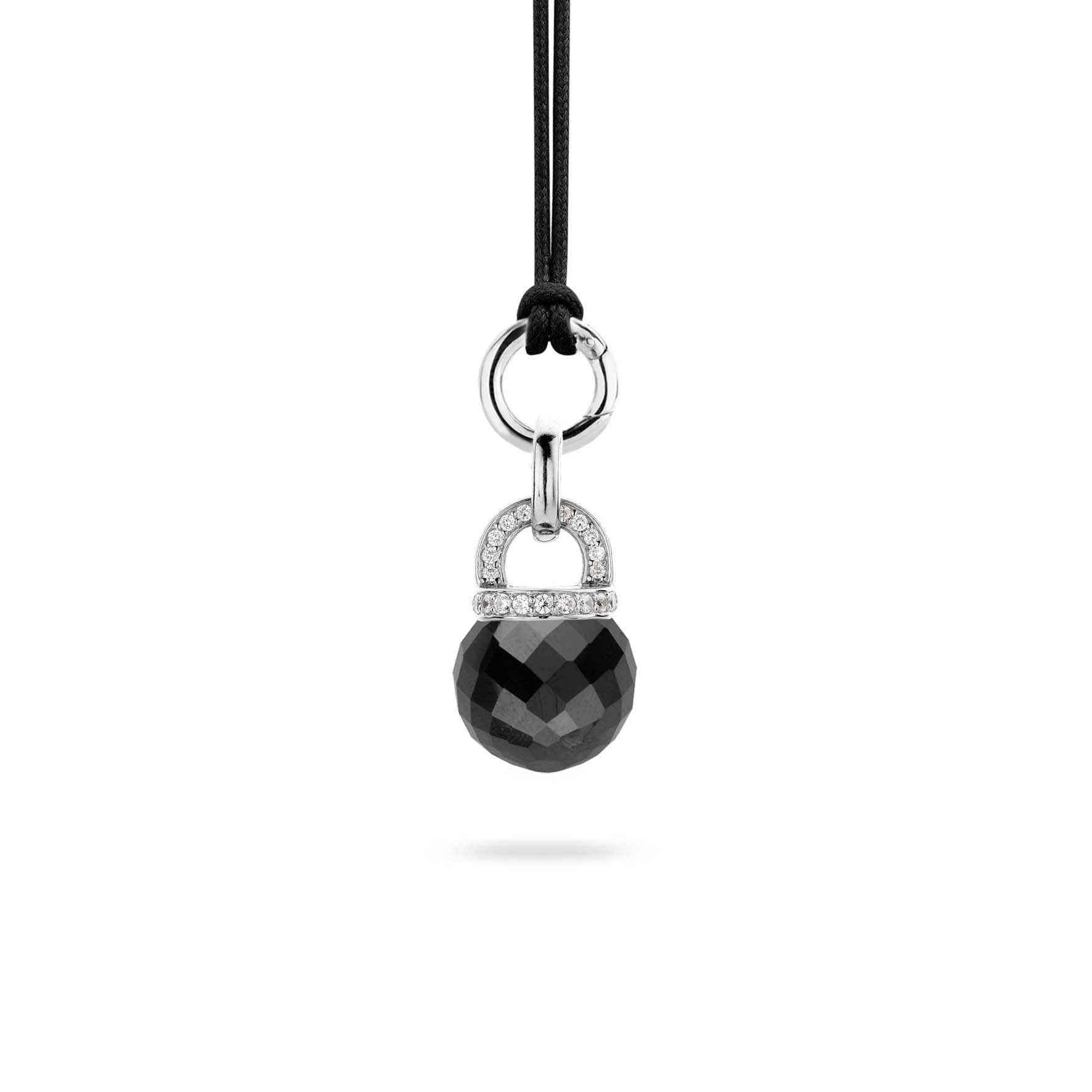 Ti Sento Pendant Silver With Black And White Cubic Zirconia Bead