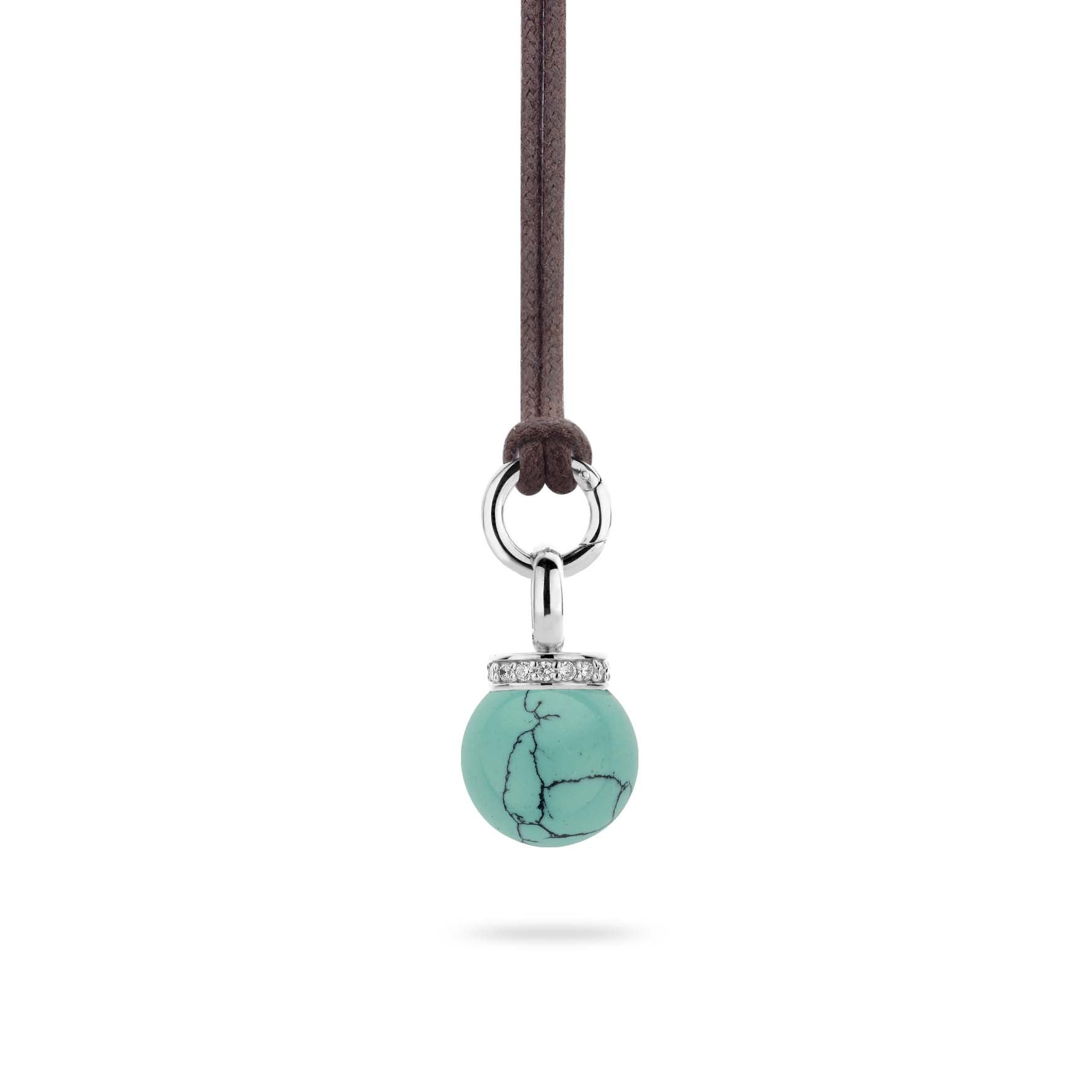 Ti Sento Pendant Silver With Turquoise And White Cubic Zirconia Bead