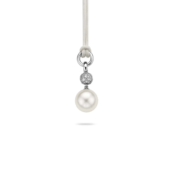 Ti Sento Pendant Silver With White Cubic Zirconia And Pearl Drop 6618PW