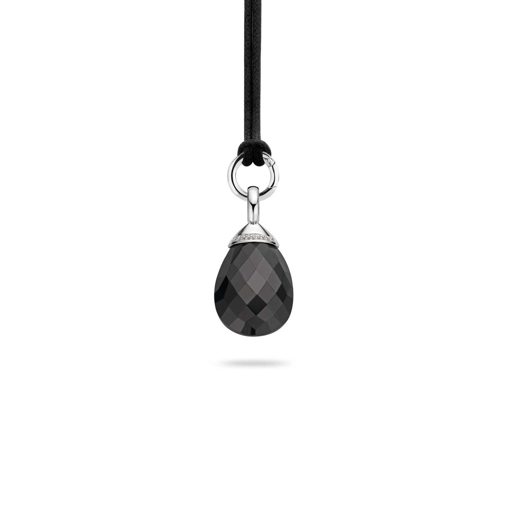Ti Sento Pendant Silver And Black Cubic Zirconia Pear