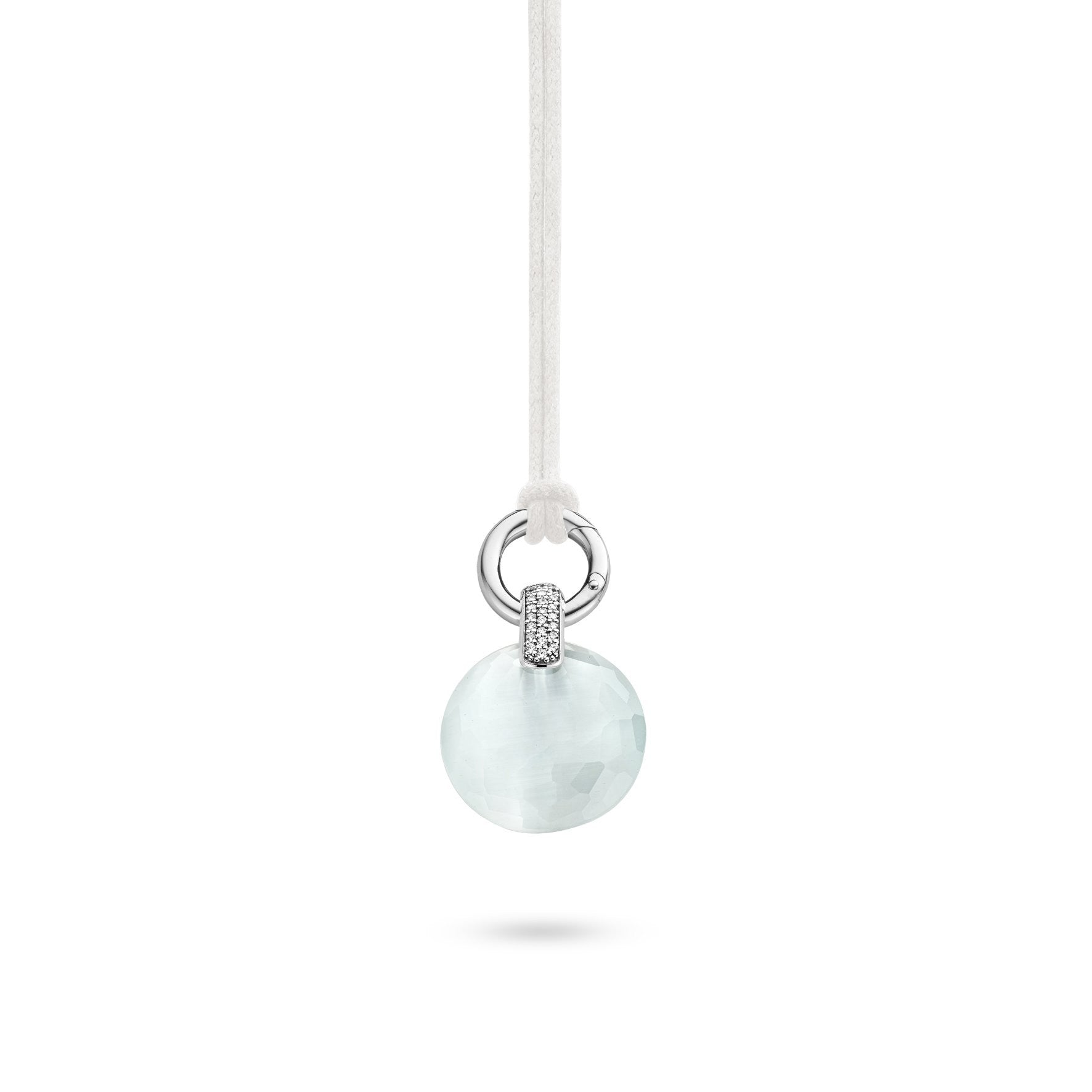 Ti Sento Pendant Silver With White And Light Blue Cubic Zirconia Round