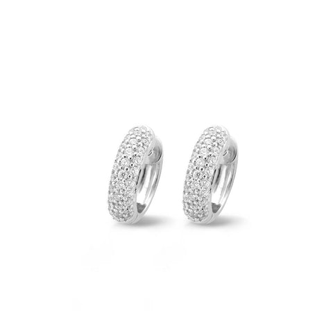 Ti Sento Earrings Hoop Silver And White Cubic Zirconia Pave Set 3 Row