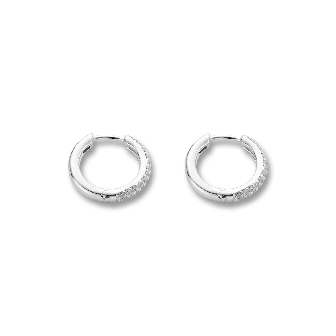 Ti Sento Earrings Hoop Silver And White Cubic Zirconia Pave Set 2 Row