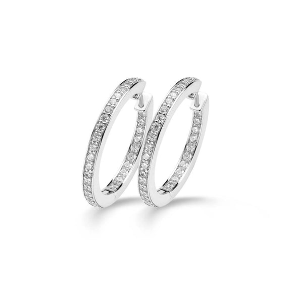 Ti Sento Earrings Hoop Silver And White Cubic Zirconia 7401ZI