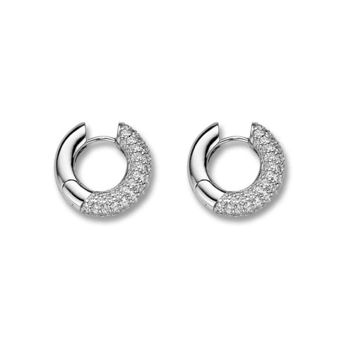 Ti Sento Earrings Hoop Silver And White Cubic Zirconia