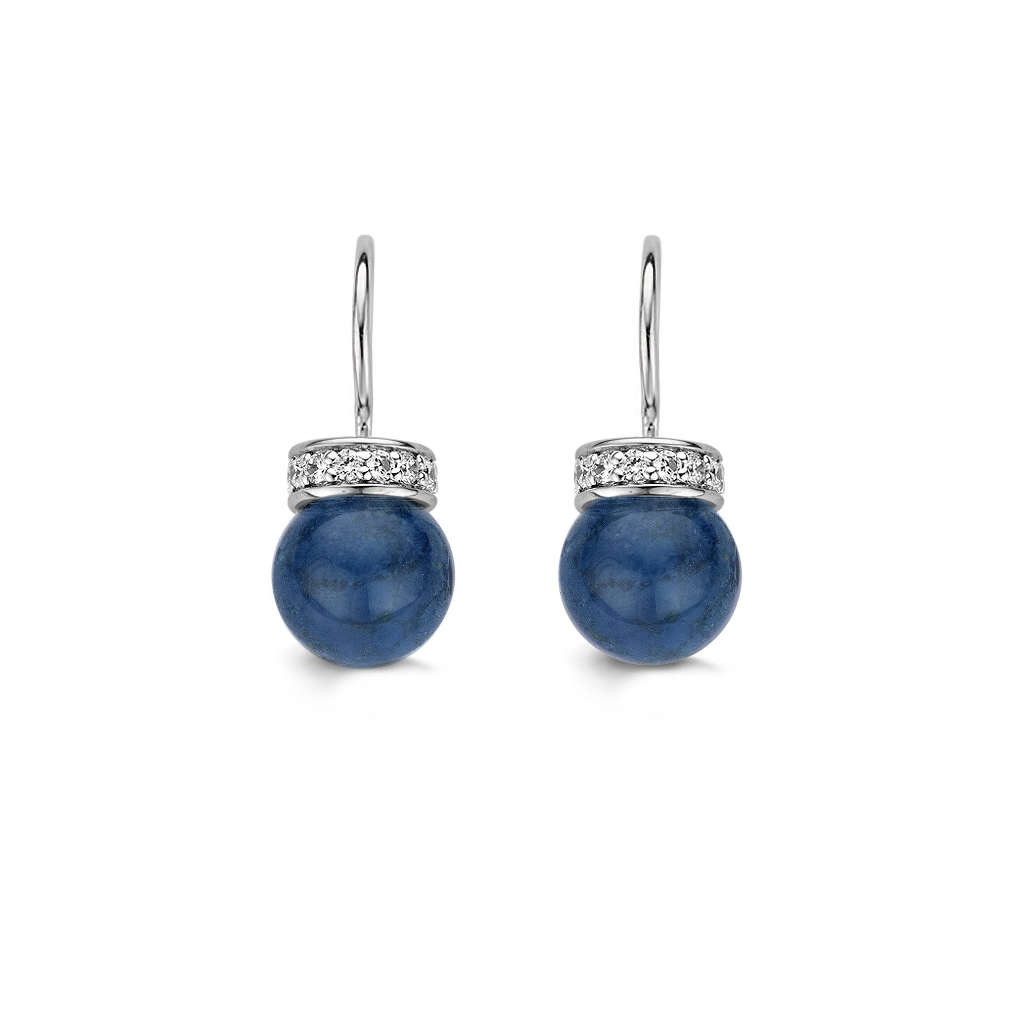 Ti Sento Earrings Drop Silver And Blue Catseye Bead Cubic Zirconia Top